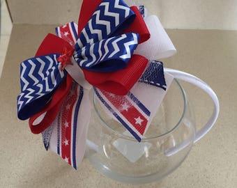 4th of july headband. Handmade bow head band. Girl headband.