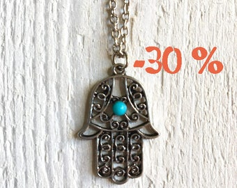 SUMMER SALE / / / Hamsa necklace in silver and turquoise