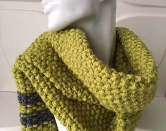 Lime Green and Grey Strip Winter Scarf