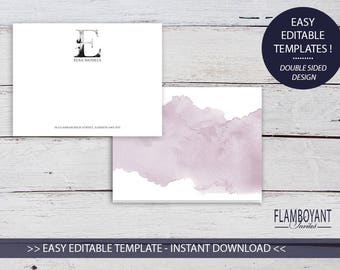 Personalised Stationery, WHIMSICAL MONOGRAM E, Monogram Stationery, Watercolour, Printable, Thank You Notes, Printable Template