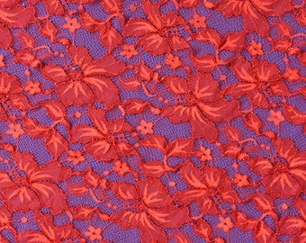 Red Flower Lace Fabric Lace Trim 59.05 Inches Wide 1.09 Yards/ Craft Supplies, WL1447