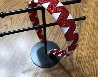 Red glitter ribbon wrapped headband