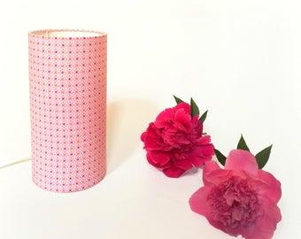 Tube 24 cm arabesque motifs pink pastel ideal bedside or desk lamp table lamp