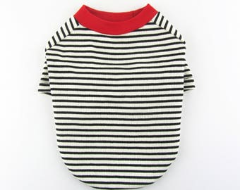 Striped Raglan Sleeves T- Shirt Dog Top Dog Clothing Made in USA for small dogs