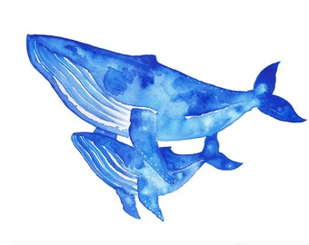 Two Whales Watercolour