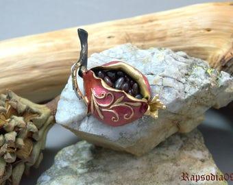 Jewelry brooch pomegranate Jewelry polymer clay brooch Garnet jewelry brooch Statement jewelry Polymer clay jewelry