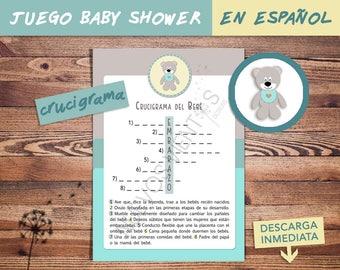 Juego Baby Shower en ESPAÑOL / CRUCIGRAMA / Baby shower SPANISH / Juego de palabras / Descarga inmediata