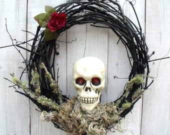 halloween party decor, Halloween wreath, skull wreath, spooky wreath, scary halloween decor, spooky Halloween wreath