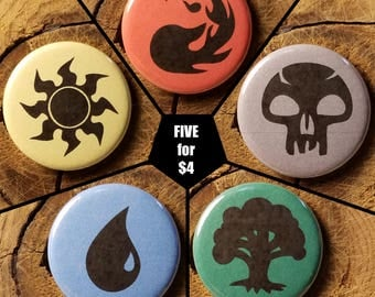 "5 for 4 - MtG Mana (1-1/4"" Pinback Buttons)"
