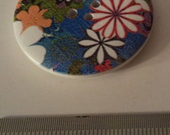 5 blue multicolored flowers 4 cm of superb quality wooden buttons