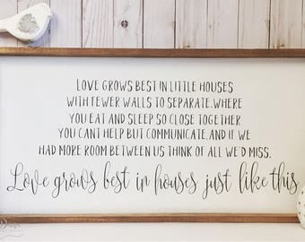 Love Grows Best In Little Houses, wood sign, rustic wooden sign, rustic decor, farmhouse decor, farmhouse sign, home decor, wall decor