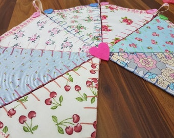 Shabbychic Style Floral Handsewn Bunting