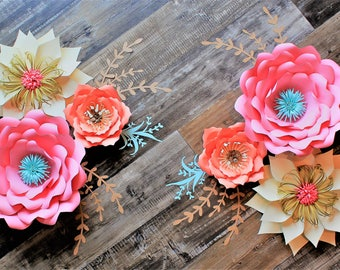 6 pc Paper Flower Set, Nursery Decor, Wedding Backdrop, Can customize any colors!
