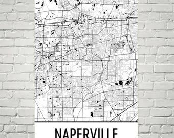 Naperville Map, Naperville Art, Naperville Print, Naperville IL Poster, Naperville Wall Art, Map of Illinois, Illinois Gift, Illinois Decor