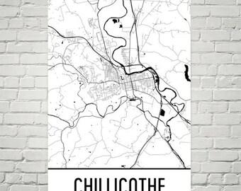 Chillicothe Ohio Map, Chillicothe Art, Chillicothe Print, Chillicothe Poster, Chillicothe Wall Art, Gift, Map of Ohio, Ohio Poster, Decor