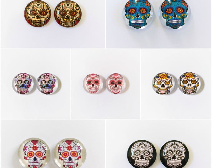 The 'Skull Candy' Glass Earring Studs