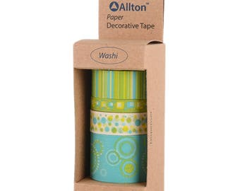 Yellow Green Pop Washi Tape with Dispenser 5m 4/Pkg - Allton