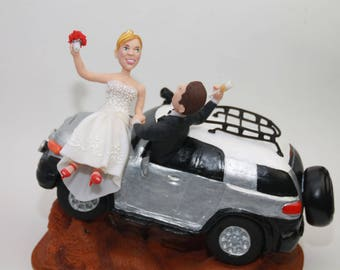 Car Personalized Wedding Cake Topper. Cake Topper. Wedding keepsake. The bride and groom.  Cake topper.Cake decoration. Party Supplies.