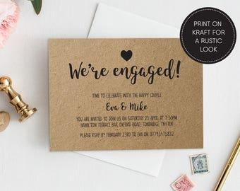 Printable Engagement Invitation/ Engagement party/ PDF/ Download/ Custom/ Eva suite #026
