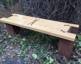 maple and steel bench with custom inlays (I)