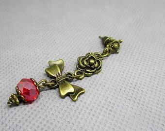 "Bows and flowers ""roses"" metal earrings"