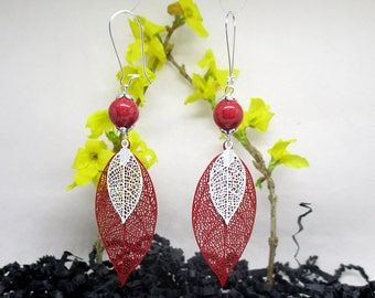 These pendants large feather red filigree earrings.