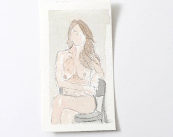 Tiny Sitting Lady / Figure Painting / Original Watercolor / Naked Lady Art / Nude Drawing