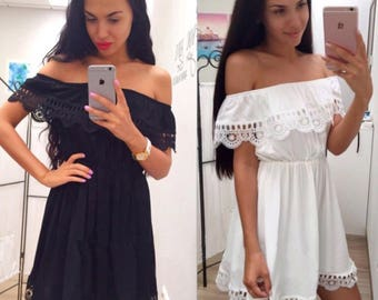 Cute Black White Lace Dress
