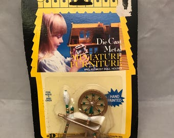 1981 Durham Industries Die Cast Metal Miniature Hand Painted Dollhouse Furniture - Spinning Wheel - In Original Package
