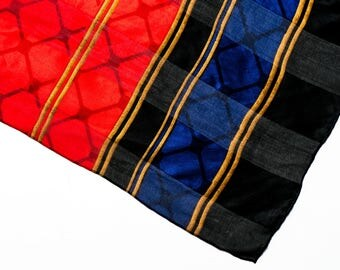 Vintage scarf, women's scarf, geometric scarf, 1960's print scarf, ladies neck scarf, retro scarf, boho scarf, mod scarf,graphic scarf, gift