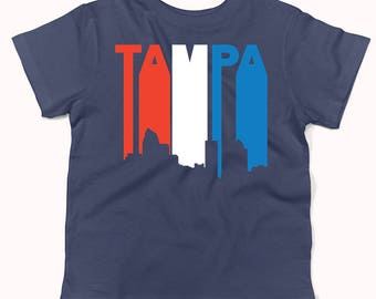 Retro Style Red White And Blue Tampa Florida Skyline Infant / Toddler T-Shirt