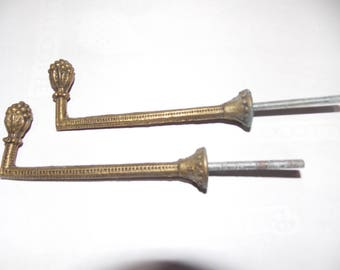 French brass curtain tie back hooks x 2 ( Pair )