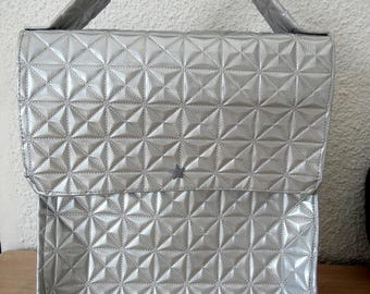 lunch bag silver leatherette