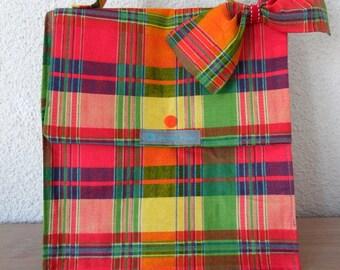 Lunch bag cotton Madras sign Lola - Célimène