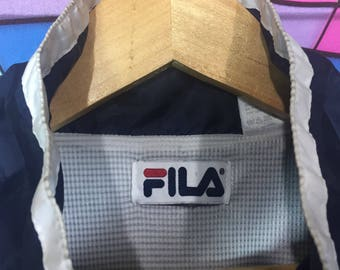 Rare!! FILA Sweater Big Logo Spellout Embroidery