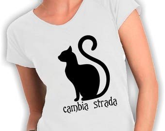 Women's V neck t shirt black cat
