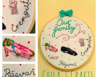 "Embroidered Family ""portrait"" on a hoop"