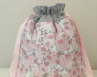 Knitting bag / knitting bags / crochet bag / project bag - piggy