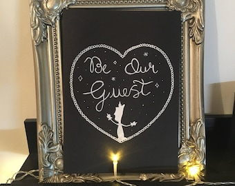 Hand drawn Be Our Guest Drawing Beauty & the Beast gift