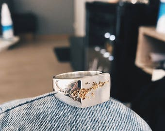 Damaged Dudes II with 24k gold plated damages - Handcrafted Sterling Silver Ring