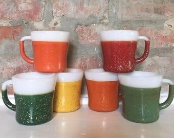 Federal Glass Co Milkglass and Confetti Mug Set // Color Milk Glass Mugs // 1960's