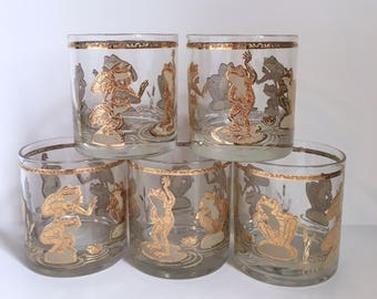 5 Culver Leap Frog Lowball Glass Set // 1960's // Set of 5 // 22KT Gold