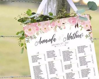 Printable Wedding Seating Chart, Wedding seating chart alphabetical, Wedding Seating Chart, Seating Chart Poster - US_WC0303
