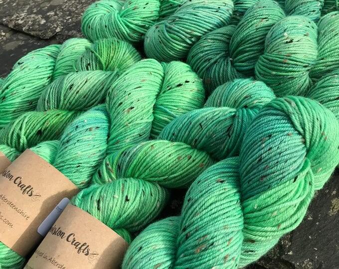 "100g donegal tweed merino DK, hand dyed in Scotland, green ""Nessie"""