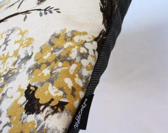 Grey Flowered Handmade Cushion
