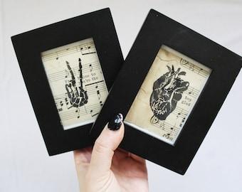 Tiny Anatomical Linocut Series // Anatomical Heart // Skeleton Peace Sign