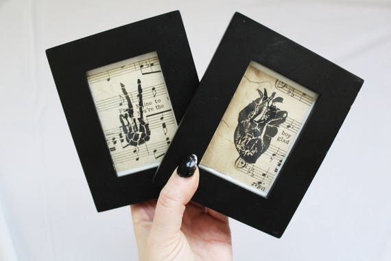 Tiny Anatomical Linocut Series // Anatomical Heart // Skeleton Peace Sign