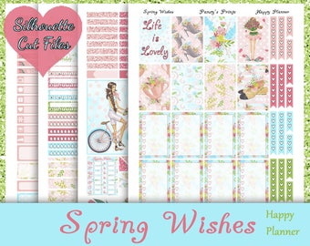 Spring Wishes~Printable Happy Planner Stickers Spring Weekly Kit For The MAMBI Classic Happy Planner with Free Silhouette Cut Files