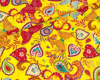 Cotton fabric butterflies on yellow coloured