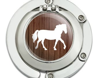 Horse Silhouette Cowboy Western Purse Hanger Holder Hook with Compact Mirror